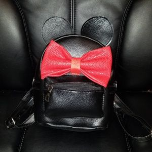 Cute Black & Red Minnie Mouse Backpack